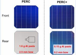Unterscheidung von PERC (links) und bifacialer PERC+ Zelle